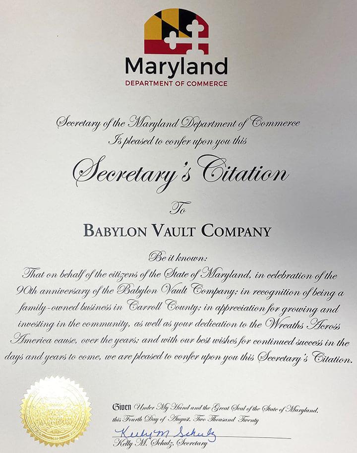 Babylon Vault Company Award Maryland Department of Commerce